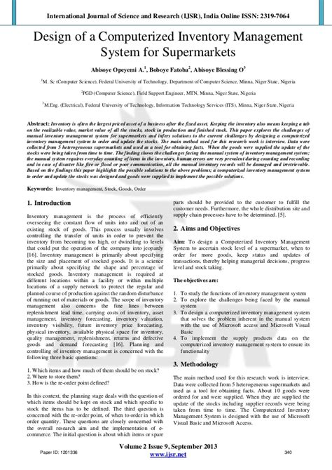 inventory research paper design of a computerized inventory management system for