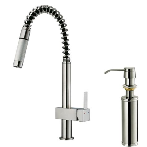 vigo single handle pull out sprayer kitchen faucet with soap dispenser in stainless steel