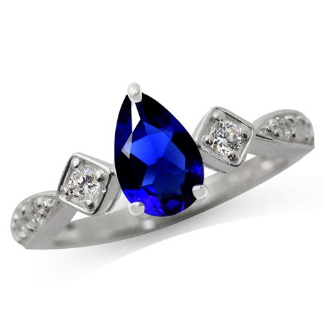 simulated blue sapphire white cz 925 sterling silver