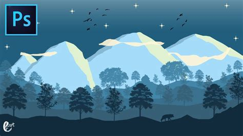 flat landscape illustrator tutorial for beginners youtube landscape flat design blue night speed art for beginners