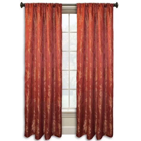 red curtain rod lucerne 84 in l red rod pocket curtain wpn7686 the home