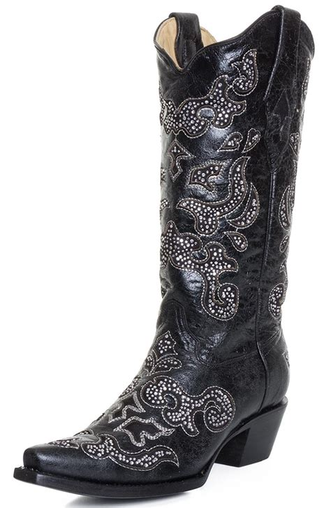 corral womens inlay snip toe cowboy boots black