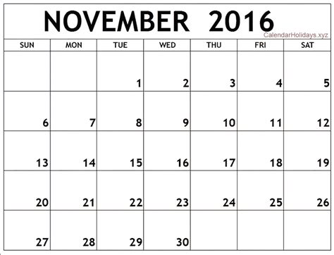 Word Template Calendar november 2016 word calendar wordcalendar calendartemplates