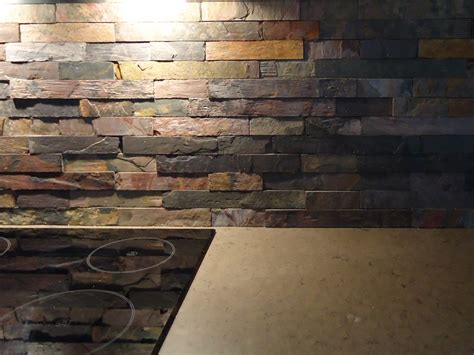 favored stacked stones slate backsplash with electric top