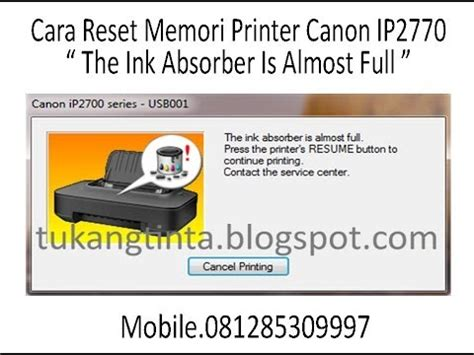 cara mengatasi resetter canon ip2770 not responding cara reset memori printer canon ip2770 youtube