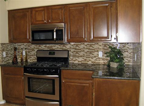 decor traditional kitchen design with peel and stick tile backsplash and brown kitchen cabinets