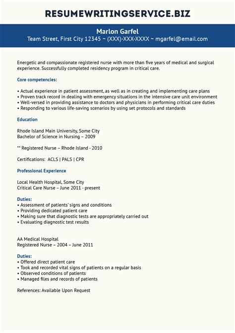 Critical Care Resume Quality Critical Care Resume Resume Writing Service