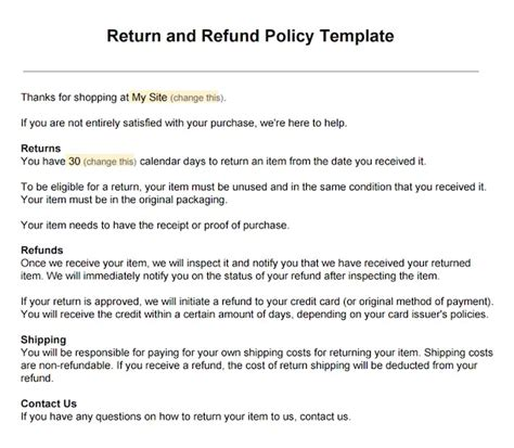 return policy templates find word templates