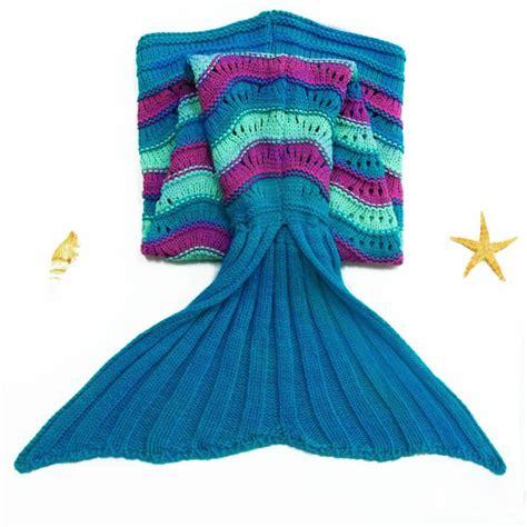 Knitted Mermaid Blanket sea wave pattern mermaid shape knitted kid s blanket