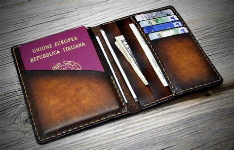 Handmade Leather Passport Cover - passport cover leather travel wallet leather passport