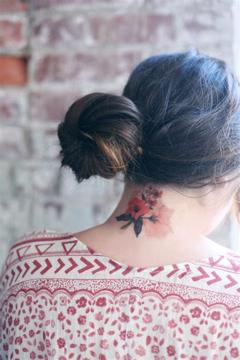 Floral Obsessed Temporary Tattoos Neck Inspiration