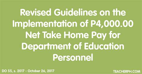 revised guidelines on the implementation of p4 000 00 net