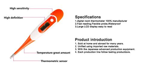 clinical thermometer labeled diagram waterproof thermometer for human temperature view