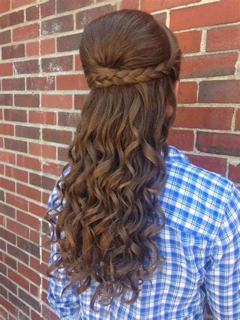 bumbed hair with curls prom hair half up half down curly braided bump cool