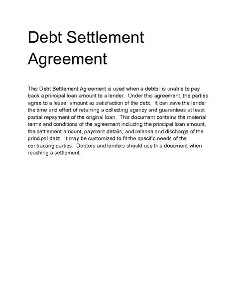Debt Settlement Contract by Welcome To Docs 4 Sale Product Details