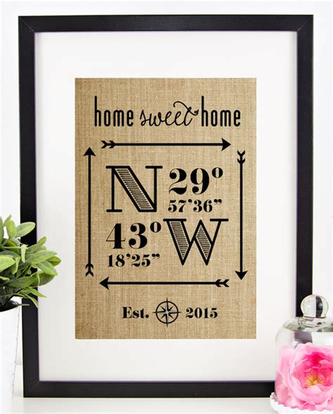 gifts for a new home latitude longitude sign house warming gift by chathlace