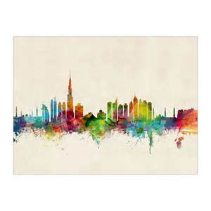 Dubai Watercolour Skyline Art Canvas Print E Alphabet Wallpaper