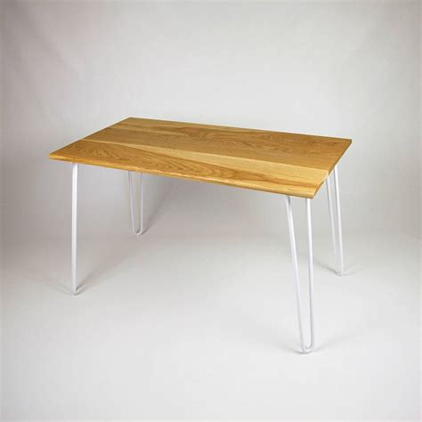 dining table with industrial hairpin legs in oak by cord