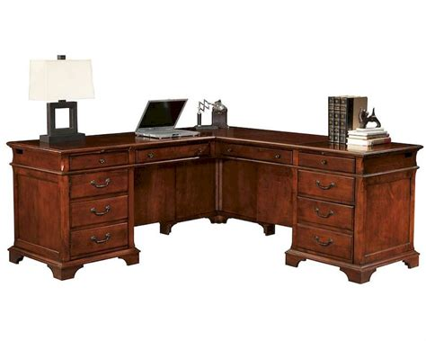 weathered cherry executive l desk by hekman he 79277