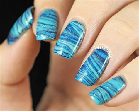 Water Nail copycat claws 31dc2014 day 20 blue water marble nail