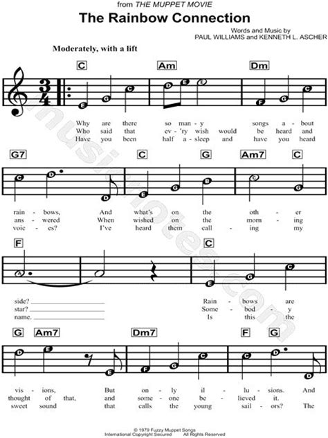 printable lyrics for rainbow connection print and download the rainbow connection sheet music by