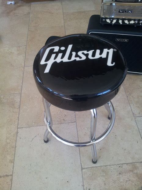 guitar bar stools gibson gibson guitar 24 quot white logo black bar stool reverb