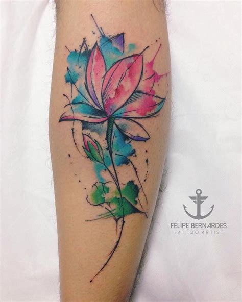 watercolor tattoo lotus by felipe bernardes artist