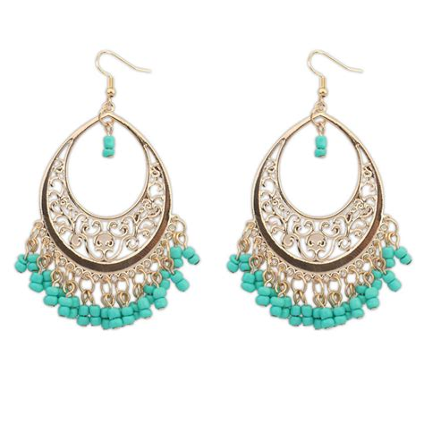 ethnic style blue drop earrings for fashion crab