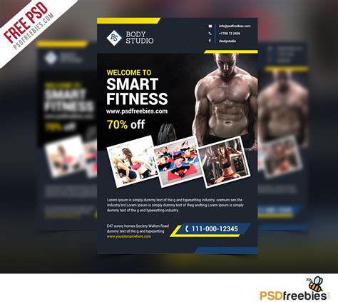fitness brochure templates fitness or flyer template free psd psdfreebies