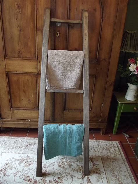 reclaimed wooden towel ladder by woods vintage home interiors notonthehighstreet