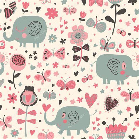 cute elephant pattern background cartoon seamless pattern for children s wallpapers cute