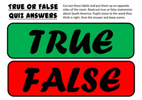 True Or False Cards Template by South America Resources Language Geography Features