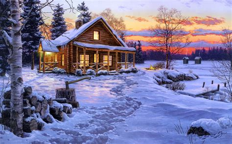 winter cabin winter bliss by http cedargalleryandframing
