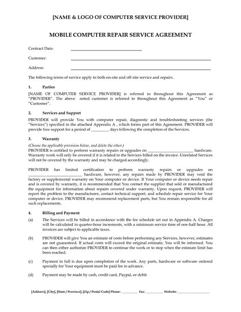 Computer Repair Contract Template by Computer Support Computer Support Service Agreement Computer Repair Service Agreement