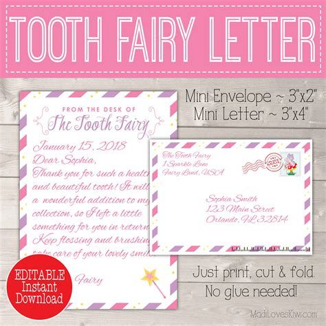 editable tooth fairy letter envelope printable pink