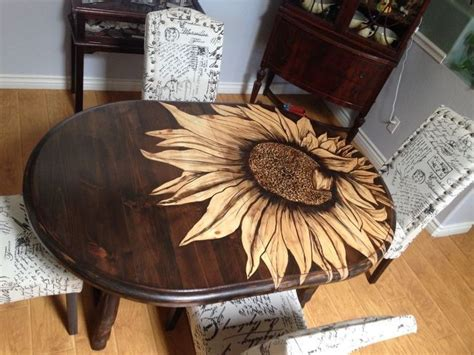 bigol sunflower table stained table wood furniture