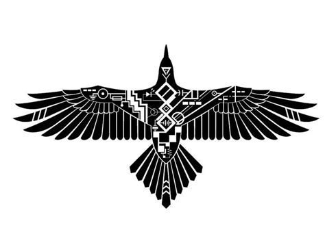 geometric tattoo black eagle emblem with geometric