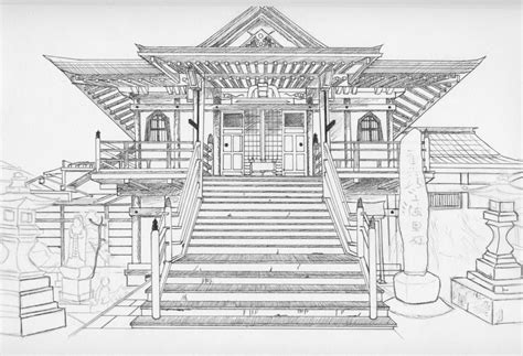 ancient japanese architecture drawing