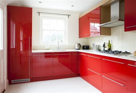 Open Kitchens Designs by Bespoke Red Kitchen With Oak Wood Finish Amberth