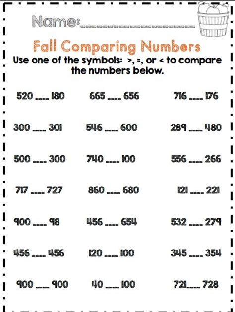 Comparing Numbers Worksheets 2nd Grade