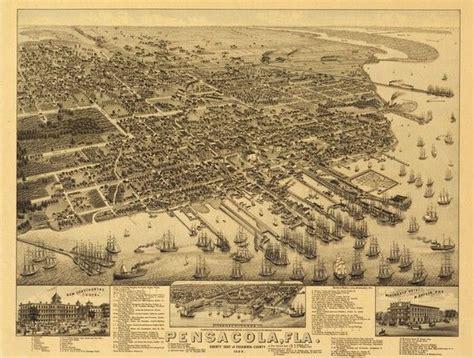 are hurricane boats good quality vintage map pensacola florida 1885 vintage maps