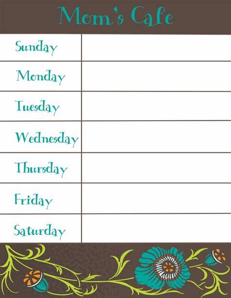 therapeutic crafting weekly menu printable
