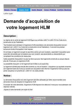 Demande De Logement Hlm Lettre demande achat logement hlm