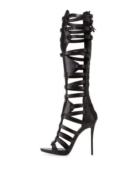 caged knee high heel sandals giuseppe zanotti high heel caged knee sandal