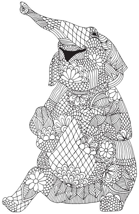 coloring pages zentangle animals happy elephant from quot awesome animals quot abstract doodle