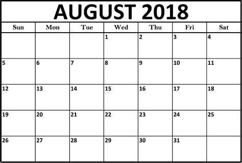 August 2018 Calendar Printable Template Thing 1 Editable Template