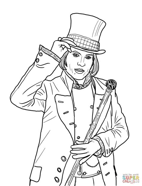 willy wonka with johnny depp coloring page free