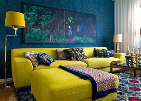 eclectic blue  yellow living interiors  color