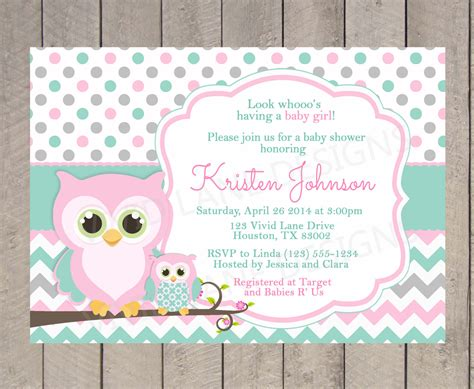 teal and pink baby shower owl baby shower invitation pink teal and grey white and