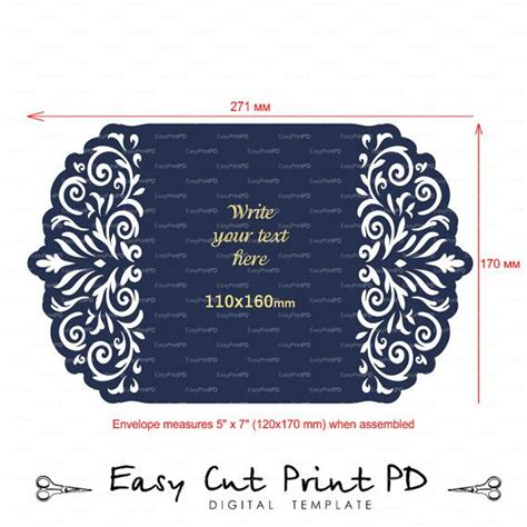 Wedding Stationery Invitation Pattern Card Templates Svgfiles Lace Folds Svg Dxf Ai Eps Png Cricut Business Card Template